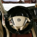 Inexpensive Plush Fur Rhinestone Car Steering Wheel Covers 15 Inch 38CM - Black