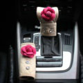 Lady Flower Car Interior Accessories Sets Leather Handbrake Cover & Shiter Cover 2pcs - Beige