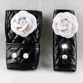 Lady Flower Car Interior Accessories Sets Leather Handbrake Cover & Shiter Cover 2pcs - White Black