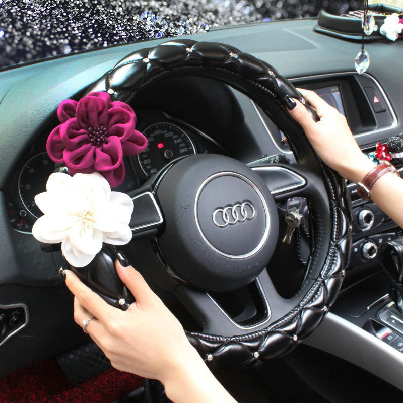 buy wholesale leather car interior accessories sets flowers auto steering wheel cover and. Black Bedroom Furniture Sets. Home Design Ideas