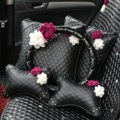 Leather Car Interior Accessories Sets Flowers Auto Steering Wheel Cover and Pillows 5pcs - Black