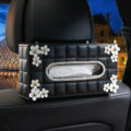 Leather Hanging Car Tissue Box Case Princess Diamond Flower Magnet Tissue Bag - Black