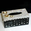 Luxury Crystal Car Tissue Paper Box Case Creative Flower Leather Household Tissue Box - Black