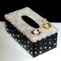 Luxury Crystal Car Tissue Paper Box Case Flower Leather Household Middle Tissue Box - Black