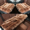 Luxury Genuine Wool Universal Car Seat Cushion Sheepskin Fur One Piece Pads 3pcs Set - Brown