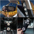 Luxury Leather Car Interior Accessories Sets Women Daisy Flowers Creative 5pcs - Black