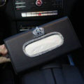 Luxury Leather Diamond Car Tissue Paper Box Holder Case Auto Interior Accessories - Black