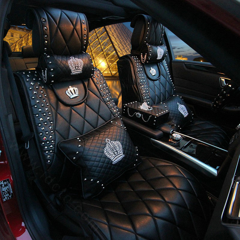 buy wholesale luxury leather rivets car interior accessories sets embroidery crown diamond 8pcs. Black Bedroom Furniture Sets. Home Design Ideas