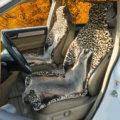 Luxury Leopard Badgers leather Car Seat Cushion Universal Plush Auto Pads 1pcs - Brown