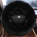 Luxury Long Fur Wool Car Steering Wheel Covers Handle Sleeves 15 Inch 38CM - Black