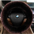 Luxury Long Fur Wool Car Steering Wheel Covers Handle Sleeves 15 Inch 38CM - Coffee