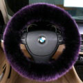 Luxury Long Fur Wool Car Steering Wheel Covers Handle Sleeves 15 Inch 38CM - Purple