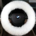 Luxury Long Fur Wool Car Steering Wheel Covers Handle Sleeves 15 Inch 38CM - White