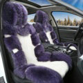Luxury Pure Wool Automobile Seat Cushion Universal Sheepskin Fur Pads 6pcs Sets - Purple White