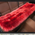 Luxury Pure Wool Universal Car Seat Cushion Winter Sheepskin Fur Auto Long Pads 1pcs - Red