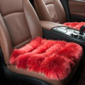 Luxury Pure Wool Universal Car Seat Cushion Winter Sheepskin Fur Auto Pads 1pcs - Red