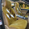 Luxury Rhombus Pure Wool Car Seat Cushion Universal Sheepskin Fur Pads 5pcs Sets - Green