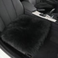 Luxury Winter Wool Universal Car Seat Cushion Sheepskin Fur One Piece Pads 1pcs - Black