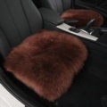 Luxury Winter Wool Universal Car Seat Cushion Sheepskin Fur One Piece Pads 1pcs - Coffee