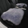 Luxury Winter Wool Universal Car Seat Cushion Sheepskin Fur One Piece Pads 1pcs - Gray