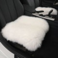 Luxury Winter Wool Universal Car Seat Cushion Sheepskin Fur One Piece Pads 1pcs - White