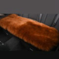 Luxury Winter Wool Universal Car Seat Long Cushion Sheepskin Fur One Piece Pads 1pcs - Brown