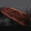 Luxury Winter Wool Universal Car Seat Long Cushion Sheepskin Fur One Piece Pads 1pcs - Coffee
