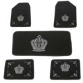 New Car Floor Mats Embroidered Crown Plush Universal Factory Carpet 5pcs Set For Girls - Black