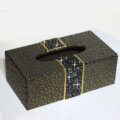 New Crystal Car Tissue Paper Box Case Coffee Pattern Leather For Office Home Decor - Black