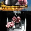 New Flower Crystal Leather Rearview Mirror Cover Handbrake and Gear Cover 3pcs Sets - Pink