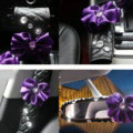 New Flower Crystal Leather Rearview Mirror Cover Handbrake and Gear Cover 3pcs Sets - Purple