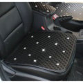 New Studded Crystal Leather Car Front Seat Cushion Woman Universal Auto Pads 1pcs - Black
