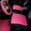 New Studded Crystal Leather Car Front Seat Cushion Woman Universal Auto Pads 1pcs - Rose