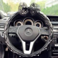 Pearls Lace Bowknot PU Leather Vehicle Steering Wheel Covers 15 inch 38CM - Black
