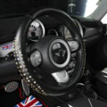 Personalized Punk Rivets Genuine Leather Car Steering Wheel Covers 15 inch 38CM - Black