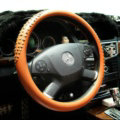 Personalized Punk Rivets Genuine Leather Car Steering Wheel Covers 15 inch 38CM - Brown