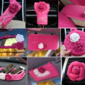 Princess Style Flower Leather Car Interior Accessories Sets 9pcs Girls Creativity Covers - Rose