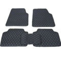 Quality Leather Car Floor Mats Four Seasons General Waterproof Antiskid Mats Carpet 5pcs - Black