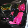 Soft Plush Car Seat Covers for Women Universal Winter Warm Seat Cushion 10pcs Sets - Black Rose