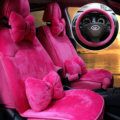 Soft Plush Car Seat Covers for Women Universal Winter Warm Seat Cushion 10pcs Sets - Rose