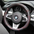 Sports Man Leather Car Steering Wheel Cover 38CM/15'' Anti-catch Holder Protector - Black Red