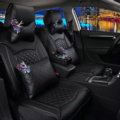 Super Female Car Seat Covers Four Seasons General Leather Packs Cushion for 5 Seats 10pcs - Black