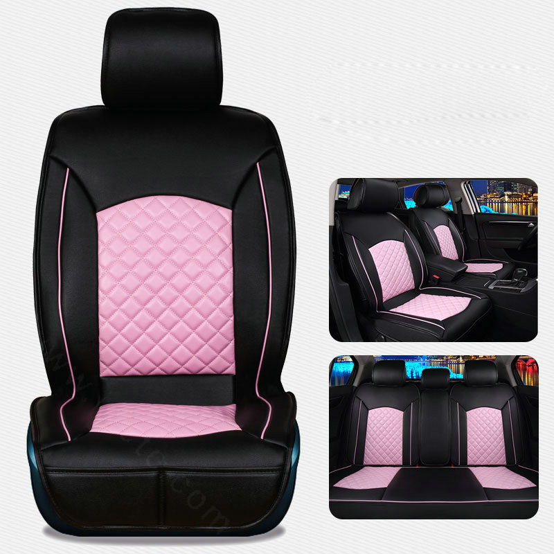Luxury Beige Saienno Creative Leather All-Inclusive Four Seasons seat Cover Female Cartoon seat Cushion 5 Seats Full Set of Universal fit.