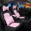 Super Female Car Seat Covers Four Seasons General Leather Packs Cushion for 5 Seats 10pcs - Pink