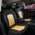 Super Leather Car Seat Covers Four Seasons General Packs Cushion for 5 Seats 10pcs - Gold