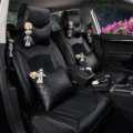 Top Leather Car Seat Covers Four Seasons General Ice Silk Cushion for 5 Seats 10pcs - Black