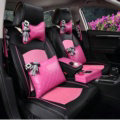 Top Leather Car Seat Covers Four Seasons General Ice Silk Cushion for 5 Seats 10pcs - Pink