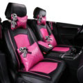 Top Leather Car Seat Covers Four Seasons General Ice Silk Cushion for 5 Seats 10pcs - Rose