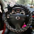 Top Quality Pearl Tassel Flower Linen Vehicle Steering Wheel Covers 15 inch 38CM - Black White