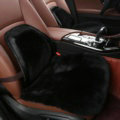 Top Quality Pure Wool Universal Car Front Seat Cushion Sheepskin Fur Waist Pads 2pcs - Black